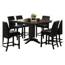 Homelegance - Homelegance Papario 7-Piece Counter Dining Room Set in Black - The need for flexibility is fulfilled with the Papario collection. With multiple configuration possibilities, the black finished counter height nook set provides the style and function your space needs. Made of select hardwoods and veneers, covered in black bi-cast vinyl.