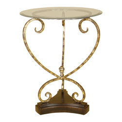 Welcome Home Accents - Metal Accent Table with Glass Top - Distressed gold elegant scrolled round metal accent table with wood base and removable glass top. Assembly required. Wipe with a dry cloth.