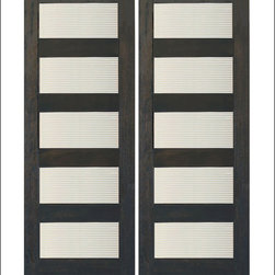 """AAW Inc. - Contemporary Interior Rubi Doors - These are our Contemporary Rubi Doors.  This door has a Matte Line design in Glass Panels. They are a perfect and affordable choice for any contemporary or modern home.    Doors are made of FSC Certified Brazilian Mahogany.  80"""" tall doors have 4 Glass Panels and 96"""" tall doors have 5 Glass Panels. Matching Exterior doors can be found on our website ( RB-08 and RB-10)"""