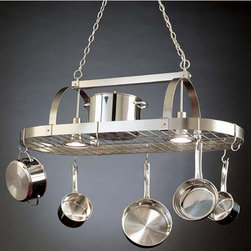 Steel Worx Large Contemporary Pot Rack with Downlights - This sort-of-modern overhead pot rack will add some sparkle to the kitchen. I like that it has storage space on top too.