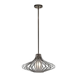 Kichler Lighting - Kichler Lighting Modern / Contemporary Pendant Light X-ZO10234 - This classic 1 light pendant will effortlessly add to the beauty of your home. Featuring a refined Olde Bronze&trade: finish and beautiful Satin Etched Glass, this design can accent any space.