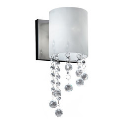 Z-Lite - Z-Lite 1 Light Wall Sconce - Crystal bead droplets shimmer against chrome hardware on this one light wall sconce, diffusing the light from the warm matte opal shade.