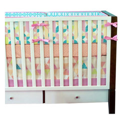 "Modified Tot - Baby Bedding Crib Set, Kenzie - Not your average girl, not your average crib set. This limited edition exclusive crib set features coral, bubblegum pink, soft aqua, gray and key lime. Perfect for a retro modern feel in your baby girls' nursery. The three piece set includes bumpers with hand-stitched fabric ties and contrasting piping, a fitted sheet with elastic all the way around and a four-sided skirt with a 15"" drop. Bumpers are created in six separate pieces for easy transition to a toddler bed, they measure 1"" thick and 10"" high. All items are proudly made in the USA. All products are made to order."