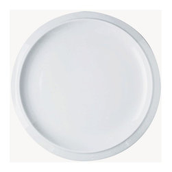 Alessi Dinnerware - Alessi Dinnerware Bavero Serving Plate - Round - Round serving plate. The Bavero porcelain set is another superb specimen of Castiglioni's work. This project draws its raison d'être from what the architect was referring to as the principal design element, in other words the key project idea that the designer must seize, the intuition at the start of any job: in this case, it's a simple (but highly significant, not to say bold) design move, folding the edges of the plates downwards. Manufactured by Alessi. Designed in 1997.