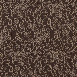 Brown, Contemporary Floral Designed Woven Upholstery Fabric By The Yard - This material is an upholstery grade jacquard fabric. It is lightweight, but is rated heavy duty and upholstery grade.
