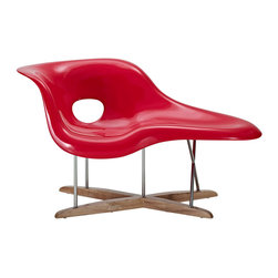 """LexMod - La Chaise in Red - La Chaise is suitable for both sitting and lying on. Its organic shape was inspired by """"Floating Figure"""", a sculpture by Gaston Lachaise."""
