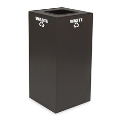 Witt Industries - Witt Industries Geo Cubes 32 Gallon Slate Recycling Bin - 32GC01-SL - Shop for Recycling Bins from Hayneedle.com! Take the first step to starting a recycling program at work with the Witt Industries Geo Cubes 32 Gallon Slate Recycling Bin. Designed to be compact this bin not only fits almost anywhere but its classic slate color is perfect for the board room or break room. Made from fire safe steel for durability the bin includes decals to clearly mark its use. Just decide what you want to recycle and choose your lid style. Different lids work with different materials. This recycling bin holds up to 32 gallons of recyclables and measures 15L x 15W x 32H.About Witt IndustriesWith its rich and established history in the steel waste receptacle manufacturing industry that dates back to 1887 Witt Industries has been in the forefront with its innovation quality and service. The company's founder George Witt invented and patented the first corrugated galvanized ash can and lid back in 1889 and the company has never looked back. Today Witt Industries is part of the Armor Metal Group and is a woman-owned business.