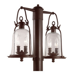 """Troy - Country - Cottage Owings Mill Collection 21"""" Wide Outdoor Double Post Light - From the Owings Mill lighting collection this outdoor post light shines adds a bright shine to your outdoor spaces. It features a double lantern design in hand-forged iron and lantern hook tops. Clear seeded glass provides a bright light throw. Natural bronze finish. Post mount style. Post (58377)not included. Takes four 60 watt candelabra bulbs (not included). 21"""" wide. 17 5/8"""" high.  Natural bronze finish.  Takes four 60 watt candelabra bulbs (not included).   21"""" wide.  17 5/8"""" high."""