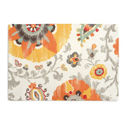 Orange Suzani Custom Placemat Set - Is your table looking sad and lonely? Give it a boost with at set of Simple Placemats. Customizable in hundreds of fabrics, you're sure to find the perfect set for daily dining or that fancy shindig. We love it in this eclectic orange, yellow & gray outdoor print where suzani meets sunshine.