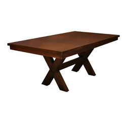 """X leg Dining Table - Very sturdy modern table. Feature through tenon base construction.Your choice of either opening in the middle as shown, or a slab top with leaves at the ends. Size shown is 42"""" x 72"""" with 1 self storing 18"""" leaf, 90"""" total length or custom sizes. Geared slides."""