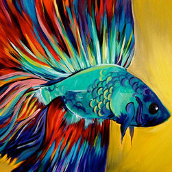 """Betta Fish (Original) by Bri Dill - This painting is one of 75+ 16x20"""" paintings I created over the past 7 months in order to gain a better understanding of my creative identify, techniques, strengths and weaknesses. No matter the subject, the vibrant colors and graphic nature create a bold statement that visually describes my mental and emotional connection to the process of creating art."""