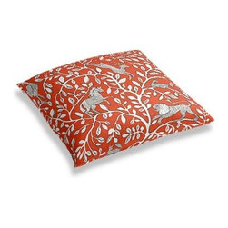 Red Modern Animal Motif Custom Floor Pillow - A couch overflowing with friends is a great problem to have.  But don't just sit there: grab a Simple Floor Pillow.  Pile em up for maximum snugging or set around the coffee table for a casual dinner party. We love it in this sketched African animal and vine motif in modern rust red. Be wild and wonderful!