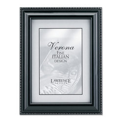 Lawrence Frames - Black Wood 8x10 Picture Frame - Silver Bead Design - High quality classic black wood frame with delicate silver beading along outside edge.  Side panels of this frame have a black painted satin finish.  High quality black velvet backing including an easel for vertical or horizontal table top display and hangers for wall mounting.  Comes individually boxed.