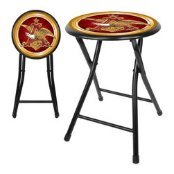 "Trademark Global - Anheuser Busch  A & Eagle Folding Stool in Black - Having some friends over for the big game, but limited on seating? Looking for an inexpensive way to add seats without taking up a lot of room or wasting money on renting? Well this A & Eagle 18 inch cushioned stool is the way to go! Impress your friends with your comfortable Officially Licensed Anheuser Busch stool. Measures 14 x 15 x 18 inches opened and folds down to 12.5 x 29 x 2 inches (length x width x height). Features: -12.5 inch round cushioned top. -Spring loaded safety lock. -Ergonomic, space saving design. -Durable, coated steel construction. -Easily wipes clean with mild soap and water. Dimensions: -Seat height: 18"". -Fold down: 2"" H x 29"" W x 12.5"" D. -Overall: 18"" H x 15"" W x 14"" D, 4 lbs."