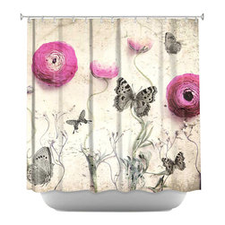 DiaNoche Designs - Monika Strigels Vintage Butterfly Shower Curtain - DiaNoche Designs works with artists from around the world to bring unique, artistic products to decorate all aspects of your home.  Our designer Shower Curtains will be the talk of every guest to visit your bathroom!  Our Shower Curtains have Sewn reinforced holes for curtain rings, Shower Curtain Rings Not Included.  Dye Sublimation printing adheres the ink to the material for long life and durability. Machine Wash upon arrival for maximum softness on cold and dry low.  Printed in USA.