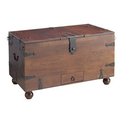 Ridgeway Trunk with Wine Storage - I like a great trunk for the end of the bed as something to hold extra blankets and quilts. I love the color, hardware and ball feet on this one.
