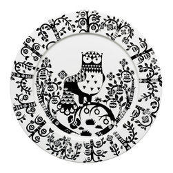 """iittala Taika Plate Flat 10.6"""" Black - Iittala Taika is part of the whimsical Taika series, illustrated by Klaus Haapaniemi for Iittala in 2007. Available in white, blue and black the design draws upon folklore for a fanciful design that is visually stunning. Taika means 'magic' in Finnish and the classic forms designed by Heikki Orvola combine well with other Iittala collections, brings a playful magic to your table."""