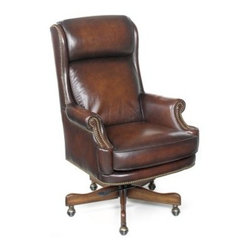 Hooker Executive Swivel Tilt Chair EC293 - The Hooker Executive Swivel Tilt Chair EC293 brings a level of comfort unheard of in the office environment. Every inch of this kiln-dried laminated wood frame is covered in genuine leather and decorative nailhead trim for a look becoming of the executive. Featuring a loose seat cushion with high-resiliency foam , you couldn't ask for a more luxurious place to sit while toiling away in the office. It tilts, swivels a full 360 degrees, rolls easily on casters and it may be raised or lowered from 21.5 - 24.5 inches high. This is where professionalism and relaxation collide.Not available for sale in, or delivery to, the state of California.About Hooker Furniture CorporationFor 83 years, Hooker Furniture Corporation has produced high-quality, innovative home furnishings that seamlessly combine function and elegance. Today, Hooker is one of the nation's premier manufacturers and importers of furniture and seeks to enrich the lives of customers with beautiful, trouble-free home furnishings. The Martinsville, Virginia, based company specializes in lifestyle driven furnishings like entertainment centers, home office furniture, accent tables, and chairs.Construction of Hooker FurnitureHooker Furniture chooses solid woods and select wood veneers over wood frames to construct their high-quality pieces. By using wood veneer, pieces can be given a decorative look that can't be achieved with the use of solid wood alone. The veneers add beautiful accents of color and design to the pieces, and are placed over engineered wood product for strength. All Hooker wood veneers are made from renewable resources and are located primarily on the flat surfaces of the furniture, such as the case tops and sides.Each Hooker furniture piece is finished using up to 30 different steps, including 13 steps of hand-sanding and accenting. Physical distressing is done by hand. Pieces receive two to three coats of solid lacquer to create extra depth and add dura