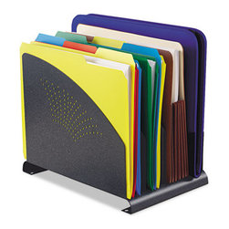 MMF POS - Contemporary Organizer, 4 Sections, Steel, 8 3/8 X 12 X 7 1/2, Granite - Adds?elegance to any office d?cor! A great organizer for holding binders, files, mail, papers and reports. Constructed of heavy-gauge steel to provide maximum strength and stability,?this organizer?is coated in granite with a scratch and chip-resistant finish, the non-slip, non-mar padded bottom provides a scratch-free, secure grip. Desktop File Folder Sorter Type: Vertical File Sorter; Number of Compartments: 4; Material(s): Steel.
