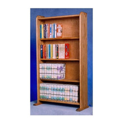 Wood Shed - 4 Shelf Media Storage (Unfinished) - Finish: UnfinishedCapacity: Varies depending on use. Made from solid oak. Honey oak finish. 24.25 in. W x 7.25 in. D x 39 in. H