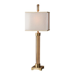 Uttermost - Uttermost Moraira Amber Glass Buffet Lamp - Moraira Amber Glass Buffet Lamp by Uttermost Five Amber Glass Columns Accented With Coffee Bronze Plated Details And A Coordinating Finial. The Double Hardback Rectangle Shades Are A Golden Champagne Inner Shade With A Warm Champagne, Silken Sheer Outer Shade.