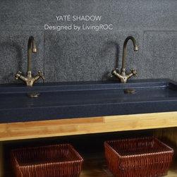 "YATE SHADOW 47""x19"" DOUBLE TROUGH BLACK GRANITE BATHROOM VESSEL SINK - Reference: BB513-1B-US"