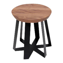 ARTLESS - Black + Walnut ARS Stool - ARTLESS ARS Stools are quickly becoming a very diverse and growing family.Their undeniable versatility is being undermined by their striking personality. The top of the base is a closed hexagon, which is torqued and its sides erased as it reaches the floor. This simple, yet powerful form is capped by the contrast of the seat or table top, which brings purpose and meaning to it all. The ARS bases are made of solid steel, which is blackened, powder coated or dipped in copper.