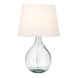 iMax - Albany Recycled Glass Table Lamp - Go green: Recycled green glass table lamp with a fabric shade looks even better when you find out it is environmentally friendly.