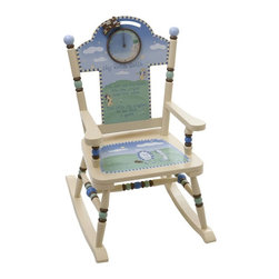 Levels of Discovery - Levels of Discovery Nursery Rhyme Rocker - RAB00055 - Shop for Childrens Rocking Chairs from Hayneedle.com! Your child will just about jump over the moon upon seeing this adorable Nursery Rhyme Rocker. Hand-painted with beautiful pastel blue and green colors this wooden rocking chair tells the nursery rhyme Hey Diddle Diddle with a visual representation plus the entire rhyme in print on the chair back and seat. The chair also features a working crescent moon clock with a cow that jumps over the moon when the time is right. Personalize the chair by writing your child's name on a special understamp beneath the seat. You can also include the name of the gift-giver and the occasion so the gift can be remembered forever. A photo greeting card is included to allow the child to say Thank you in his or her own special way. Clock requires one AA battery (not included). Seat height: 12.5 inches. Dimensions: 16W x 23D x 30H inches.About Levels of DiscoveryAfter spending years as a product developer and president for companies like Enesco the Franklin Mint and Hallmark Jeff Hutsell decided to devote himself to creating innovative unique and fun furnishings made especially for children. The resulting company Levels of Discovery now strives to design pieces that are more than simply pieces of heirloom-quality furniture. Each piece features unexpected details that will surprise and delight children and parents alike. Playful themes and hidden features like music boxes picture frames or time-out timers elevate rocking chairs benches tables and other pieces into treasured works of art that will define your youngster's childhood. Each piece can be personalized with an understamp showing the child's name the giver's name and the special occasion the gift celebrates. All these extras combine to create beautiful hand painted masterpieces that are sure to become instant family treasures.