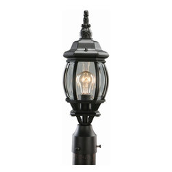 DHI CORP - Design House 505560 Canterbury Outdoor Post Light - 6.125 x 18.5 in. - Black Die - Shop for Posts from Hayneedle.com! Add whimsical charm to your home with the Design House 505560 Canterbury Outdoor Post Light - 6.125 x 18.5 in. - Black Die-Cast Aluminum Finish lighting the way for your guests. Standing sturdy being made from die-cast aluminum this post light has rich black finish and shines bright through clear beveled glass.About DHI CorpDHI Corp has committed itself toward providing its customers with a selection of carefully crafted high-quality products for the home and garden. With both consumer and trade markets in mind the company features domestic offices based in Mequon Wisconsin and a satellite office located in Asia. With design influences and the finest craftsmen and factories from around the globe under their employ DHI Corp has made itself a brand you can trust. Whether you need faucets fans hardware or more DHI has you covered.