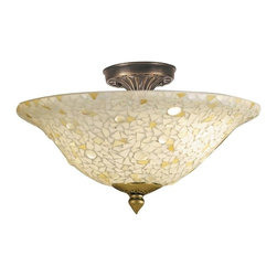 EuroLux Home - New Dale Tiffany Blake Flush Mount 3-Light - Product Details
