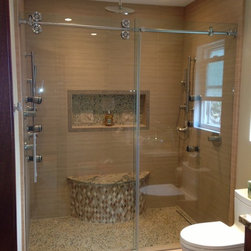 Fleurco Shower Doors - Custom Fleurco Kinetik Glass Shower Enclosure with solid Stainless Steel Hardware.