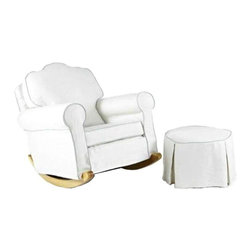 Used Upholstered Rocking Chair and Ottoman - This upholstered combo will add comfort to your space. The rocking chair and ottoman feature cream slipcovers with a turquoise trim for a touch of color. Perfect for a nursery or guest bedroom.     Chair Dimensions: 31H x 34W x 37L   Ottoman Dimensions: 15H x 24Dia