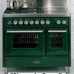 """Ilve - UMTD100SMPM Majestic Techno 40"""" Freestanding Dual Fuel Range with 4 Burner  Fren - Majestic Techno 40 Freestanding Dual Fuel Range with 4 Burner French Top Rotisserie 244 cu ft Convection Main Oven and Warming Drawer"""