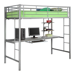 Walker Edison - Walker Edison Sunrise Metal Twin/Workstation Bunk Bed in Silver - Walker Edison - Bunk Beds - BTOZSL - Elegance and function combine to give this contemporary bunk bed a striking appearance. The design gives a stylish modern look crafted with durable steel framing. Designed with safety in mind the bed includes full length guardrails and a sturdy integrated ladder.  Great for any space-saving design needs.