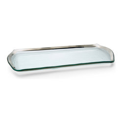 "Annieglass - Platinum Rimmed Pastry Tray - Roman - Annieglass handmade Roman Antique collection oblong pastry tray in platinum trim. Chip resistant, safe for dining, dishwasher safe and highly durable. Handmade glass 16 3/4 x 6 3/4"" oblong pastry tray produced in the U.S.A. Durable, chip-resistant and dishwasher safe. Banded with genuine platinum. Each Annieglass piece is handmade from architectural quality glass with Annie Morhauser's trademark slumping process  which is a uniquely developed glass bending technique. Each piece is highly durable, dishwasher safe, chip resistant, and safe for dining."