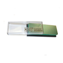 DMT - Extra Fine Bench Model Diamond Whetstone - Materials: Micron sized monocrystalline diamonds, nickel, precision ground steel, polycarbonate base Dimensions: 3 inches long x 1 inch wide x 9 inches high Grit: Extra fine