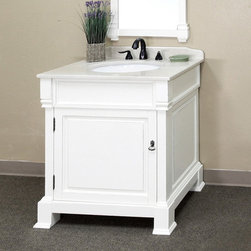Bellaterra Home - Bellaterra Home 'Olivia 30' Hardwood Bathroom Vanity - This white hardwood vanity from Bellaterra Home will be the keystone of your bath or powder room. This vanity features a white hardwood top with a semi-closing water-proof wood finish to protect against humidity.