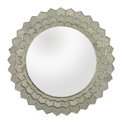 Lazy Susan - Lazy Susan 114184 Antique Sunflower Wall Mirror - Sophisticated and stylish, this mirror is mounted in a surround made of individually hand cut and antiqued petal shaped pieces. Each piece beautifully refracts light, illuminating any space.