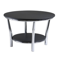 "Winsomewood - Maya Round Coffee Table, Black Top, Metal Legs - Maya Table Collection offers the ultimate in contemporary decor. Round Coffee Table 29"", A large round top and a shelf 19.60"" Diameter below offer function and style. This accent table features a polished steel frame with MDF top and shelf. 12"" Clearance from top to shelf. Ready to assemble."
