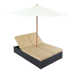 """LexMod - Arrival Outdoor Patio Chaise in Espresso Mocha - Arrival Outdoor Patio Chaise in Espresso Mocha - Life is full of first glimpses with the dual lounge Arrival set. Center your thoughts on uplifted efforts as you embark on pursuits both peaceful and grand. With recline adjustable chaise lounges, and an easy fold umbrella that provides shade from the sun, Arrival is a piece of stellar resolve. Arrival is comprised of UV resistant rattan, a powder-coated aluminum frame and all-weather cushions. The set is perfect for cafes, restaurants, patios, pool areas, hotels, resorts and other outdoor spaces. Set Includes: One - Arrival Outdoor Dual Chaise Dual Modern Chaise Lounges, Synthetic Rattan Weave, Machine Washable Cushion Covers, Powder Coated Aluminum Frame, Water & UV Resistant, Ships Pre-Assembled Overall Product Dimensions: 105.5""""L x 105.5""""W x 13.5""""H Daybed Dimensions: 82""""L x 54.5""""W x 13.5""""H Umbrella Diameter: 105.5""""L x 105.5""""W Seat Height: 13.5""""H - Mid Century Modern Furniture."""