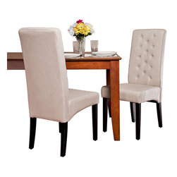 Great Deal Furniture - Darby Tall Back Linen Dining Chairs, Set of 2 - Asking for chairs that are the height of fashion, yet offer casual comfort shouldn't be such a tall order. These tufted dining chairs keep a high profile around your table, all while retaining a warmth and character that invites everyday elegance.