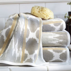 Dylan Ikat Jacquard Bath Towels - These are on my wish list right now. I adore the ikat/jacquard pattern. While I'm a fan of white towels in my bathrooms, I love some pattern in a powder bath.
