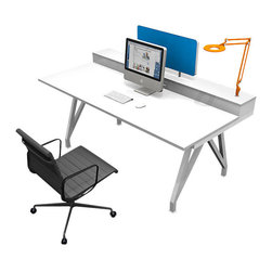 Scale 1_1 - EYHOV Single Desk System - You know you're in the company of great design with this desk. In white and matte metals, it features plenty of space to work, along with under-counter wire management and spots to attach desk lights. It also comes with an optional blue privacy screen for those times when you don't want much company in your company.