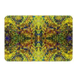 "KESS InHouse - Nikposium ""Yellow Jacket"" Green Abstract Memory Foam Bath Mat (17"" x 24"") - These super absorbent bath mats will add comfort and style to your bathroom. These memory foam mats will feel like you are in a spa every time you step out of the shower. Available in two sizes, 17"" x 24"" and 24"" x 36"", with a .5"" thickness and non skid backing, these will fit every style of bathroom. Add comfort like never before in front of your vanity, sink, bathtub, shower or even laundry room. Machine wash cold, gentle cycle, tumble dry low or lay flat to dry. Printed on single side."