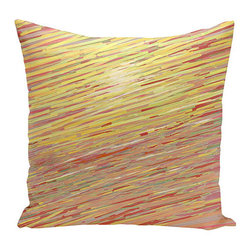 e by design - Abstract Coastal Red and Orange 20-Inch Cotton Decorative Pillow - - Decorate and personalize your home with coastal cotton pillows that embody color and style from e by design  - Secondary Color: Yellow  - Fill Material: Synthetic down  - Closure: Concealed Zipper  - Care Instructions: Spot clean recommended  - Made in USA e by design - CPO-GH18-Warm-20