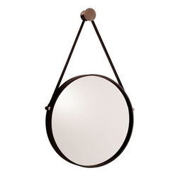 Arteriors - Arteriors Expedition Iron Mirror with Polished Nickel Hanger - The expedition mirror is one of our favorites for a bathroom, hallway or above a chest of drawers.  Black painted iron with polished nickel accents. Also available in antique brass hanger with antiqued mirror.