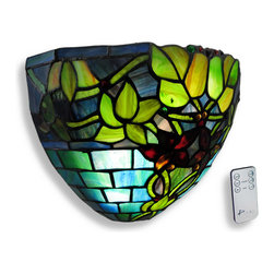 Zeckos - Hampstead Stained Glass Half Moon LED Wall Sconce Timer/Remote - Add beautiful accent lighting to your home or office with this Hampstead stained glass wall sconce, containing over 100 pieces of hand cut art glass. It measures 12 inches wide, 8 inches high, and 5 3/4 inches deep. The fixture easily mounts to any wall with a single screw and is powered by either 3 D batteries (not included) or the included power adapter with a white 10 foot long cord, no electrical work required. Nine bright white, long lasting LED bulbs are controlled by a remote that gives you options to dim, to set a 3 or 6 hour timer, or to turn on/off. This wall sconce is perfect for apartments as well as houses and this light may also be used outdoors under a covered area with a weatherproof Class A GFCI receptacle. It makes a lovely gift that is sure to be admired. NOTE: Mounting hardware and a CR2025 battery for the remote are included.