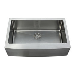 "Kraus - Kraus 33"" Farmhouse Apron Single Bowl 16 Gauge Stainless Steel Sink Combo Set - Add an elegant touch to your kitchen with a unique and versatile farmhouse apron sink from Kraus"