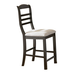 Steve Silver Furniture - Steve Silver Bradford Counter Height Stool in Black - Work comfortably and confidently in the Bradford counter chair. This chair features a black finish and is upholstered in a plush white chenille fabric.